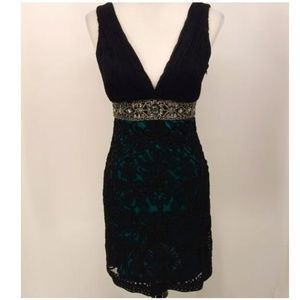 Sue Wong Nocturne 4 Dress Green Black Sleeveless